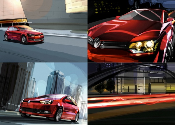 Storyboard (cars) by zhang weber, via Behance