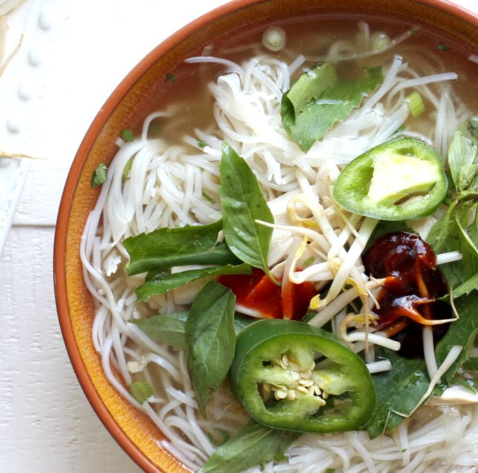 traditional pho ga-vietnamese chicken noodle soup