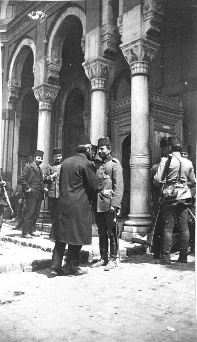 Enver Pasha and his father at Taksim Barracks.
