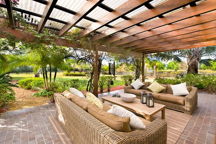 Finally found someone that had done what I have been describing for years, Pergola with translucent corrugated roofing.