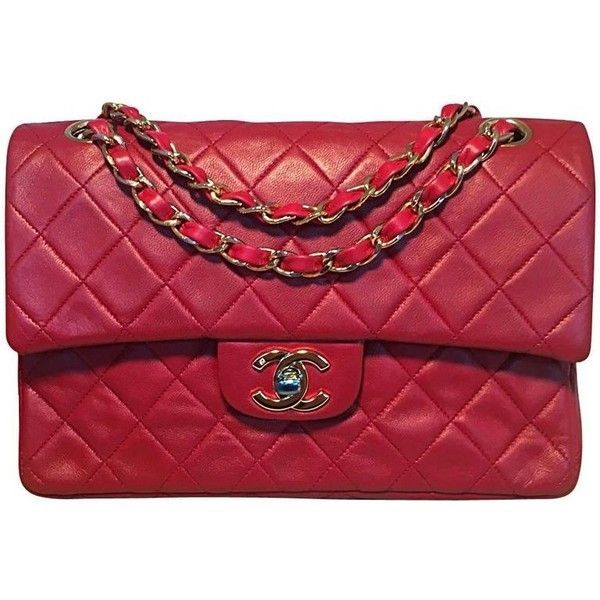 Preowned Chanel Vintage Red Leather 9inch 2.55 Double Flap Classic (14.865  DKK) ❤ liked 0c126d80be