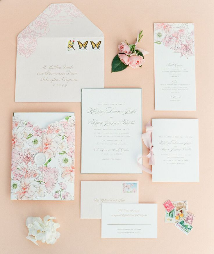 wedding invitations from michaels crafts%0A Pink floral wedding invitation suite