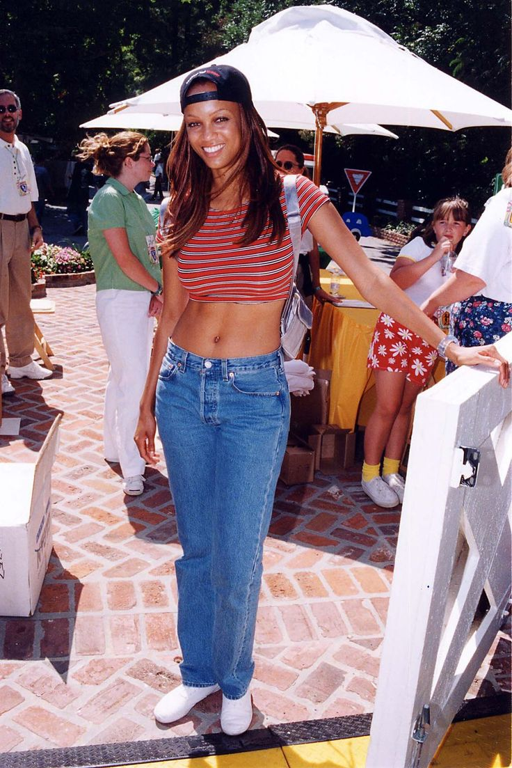 Tyra Banks, Our 90s Rihanna-In-Training #refinery29 http://www.refinery29.com/tyra-banks-lookbook-throwback-90s-fashion#slide-5