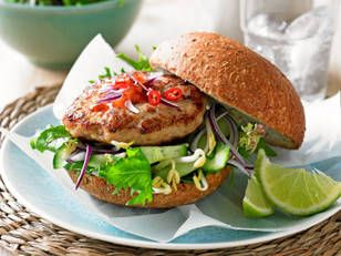Ingredients: 400g extra lean chicken mince ¼ cup (15g) fresh breadcrumbs 1 clove garlic, crushed 1 tsp grated fresh ginger 1 small fresh red chilli, finely chopped 1 tsp finely grated lime rind 2 tsp fish sauce 1 egg, lightly beaten 1 Lebanese cucumber ¾ cup bean sprouts ½ small red onion, thinly sliced 2 cups (30g) Asian salad leaves 4 x 60g wholegrain bread rolls, cut in half 2 Tbsp sweet chilli sauce  Author: Better Homes and Gardens Magazine