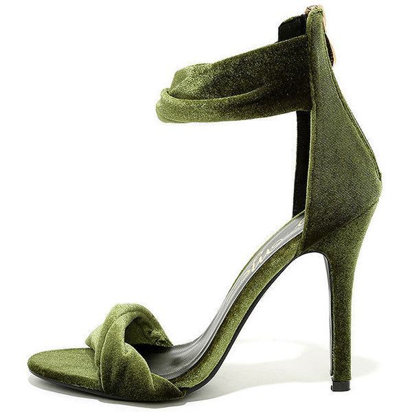 Impress Me Green Velvet Ankle Strap Heels ($38) ❤ liked on Polyvore featuring shoes, pumps, green, green high heel shoes, zipper shoes, polish shoes, high heel court shoes and green high heel pumps