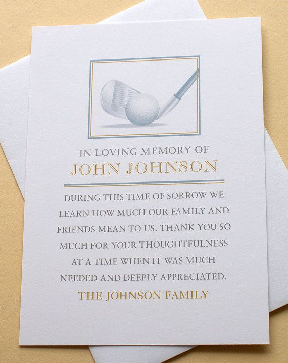 Funeral Thank You Cards With a Golf Club by zdesigns0107 on Etsy