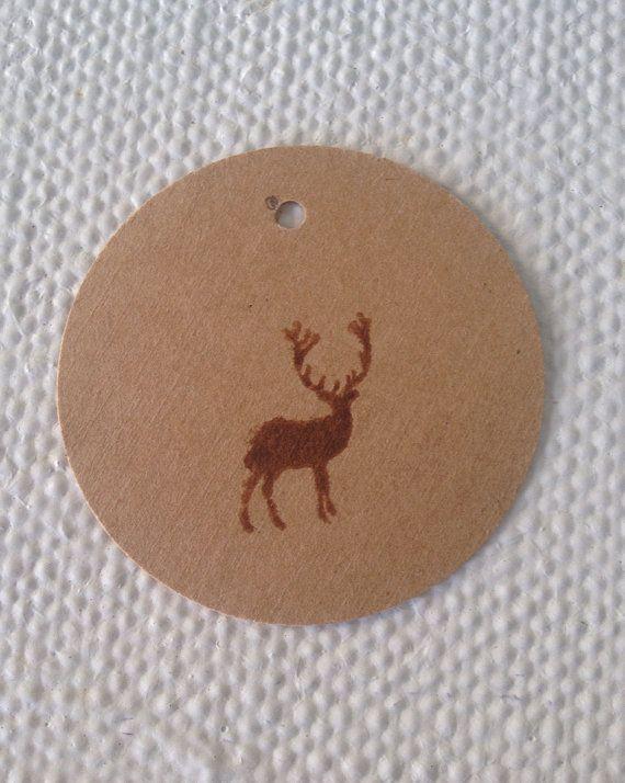 Hand Stamped Round Brown Kraft Deer Tags by TypeWright on Etsy