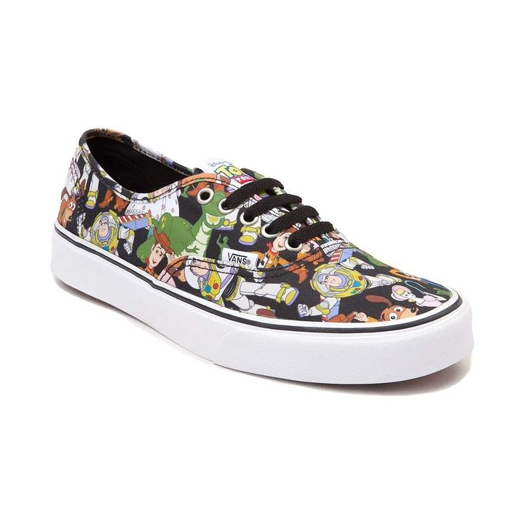 "Join your favorite toys, and embark on an epic adventure, with the new Authentic Toy Story Skate Shoes from Vans! These playful Authentic Toy Story Skate Shoes feature a collage of your favorite Toy Story characters printed on a sturdy canvas upper, complete with an ""ANDY"" signature print on the vulcanized rubber outsole. <b>Available for shipment in October; Only available at Journeys and Underground by Journeys!</b>  <br><br><u>Features include</u>:<br> > Durable canvas uppers<br> > Front…"