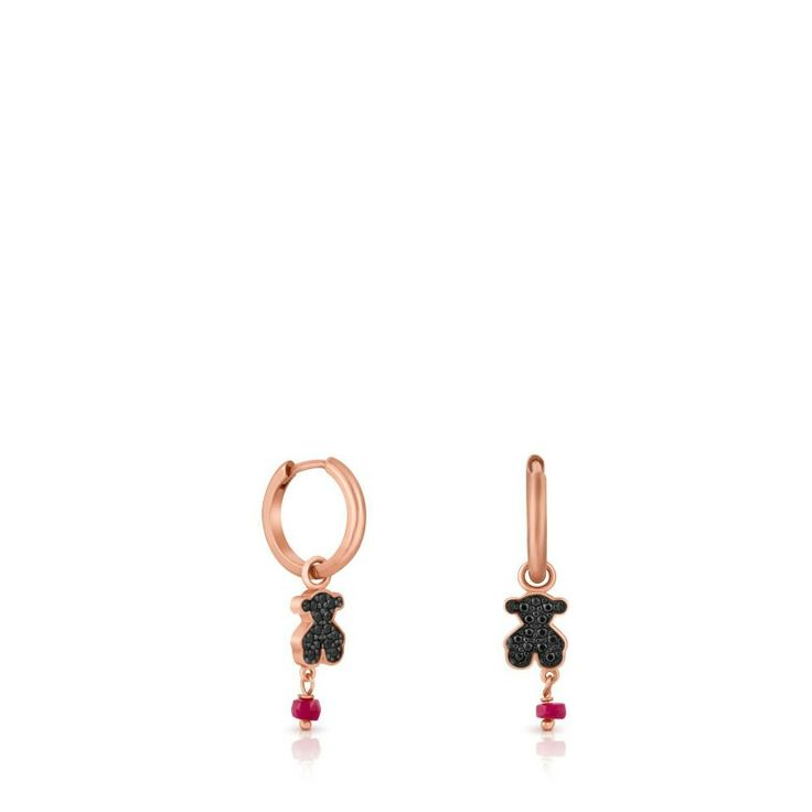 """MOTIF Ref.314933540 @ $155 DESCRIPTIONPink sterling silver TOUS Motif earrings with spinels and ruby. Motif: 9mm. - 3/8""""."""