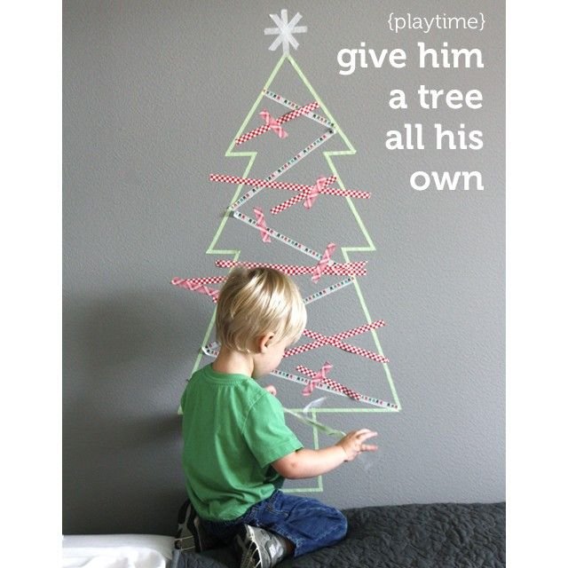 Washi Tape Christmas tree.  Wee Elsie would love this!