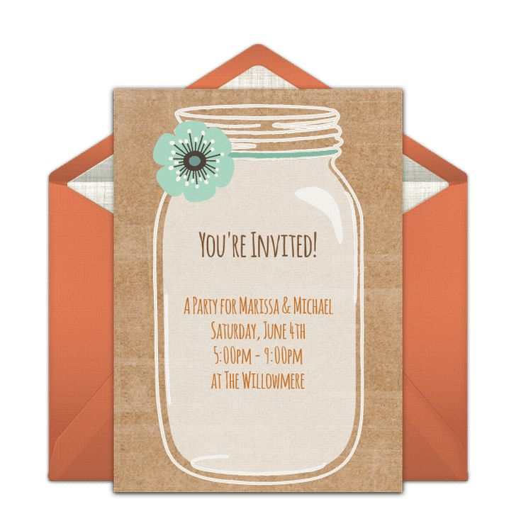 Send a Free, Printable Engagement Party Invitation: Rustic Mason Jar Engagement Party Invite from Punchbowl