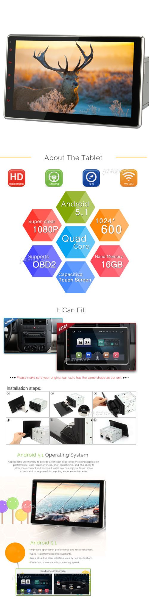 Video In-Dash Units w GPS: 10.1 1024*600 Hd Android 5.1 Quad Core 2Din Car Dvd Stereo Radio Gps Dab Player -> BUY IT NOW ONLY: $337.45 on eBay!