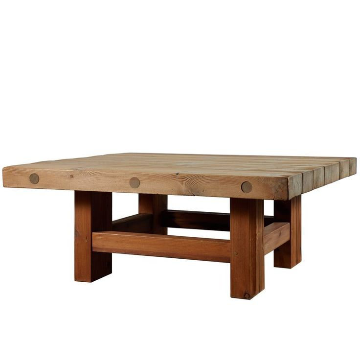 Solid Pine Coffee Table Attributed to Roland Wilhelmsson 1