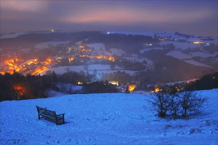 Snow at night on Rodborough Common, taken by Mark Jarvis