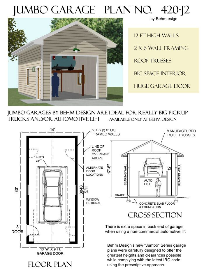 420 J2 14 X 30 Behm Design Garage Door Styles Garage Plans Garage Plan