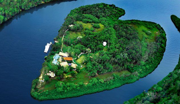 A heart shaped makepeace island off Australia's Sunshine Coast.