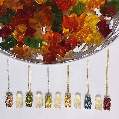 "Because not many things make us happier than gummy bears! @Maggoosh_'s gummy bear necklaces make the perfect ""BFF"" gift - buy one for you and one for your best friend (they're also ON SALE - win/win)! #wecreateharmony #maggoosh #gummybear #sale #bestfriendsnecklaces  Shop the collection here: bit.ly/1m86z3m"