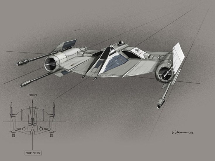 [Fighter] Star Wars Episode II: Attack Of The Clones, concept art by Warren Fu