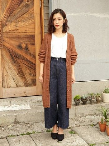 Together with the long cardigan of the knit of this season. In autumn trend color · Camel ♪ even more seasonal face ♪
