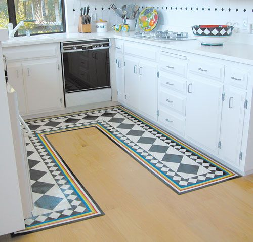 LOve the aspect that you can custome design the shape and the visual. Hand painted or printed offers much design scope. Studio K Custom Floor Mats. www.flooringdirectree.com