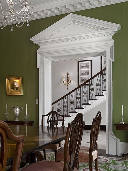 Love the opening view between the rooms and elegant stairs