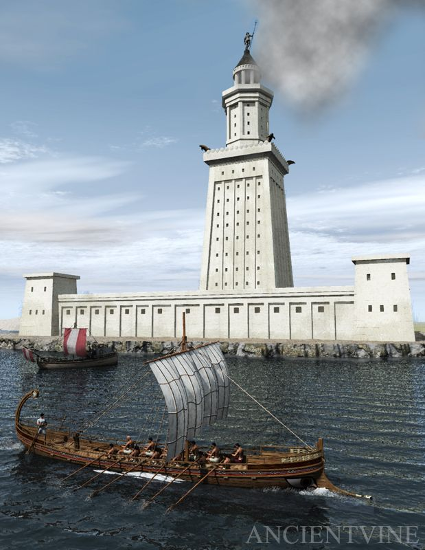This wonder of the ancient World was located in the island of Pharos just off the coast of the city of Alexandria in Egypt - LIGHTHOUSE_OF_ALEXANDRIA  - Ancientvine
