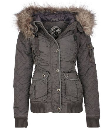 MyMo: Dark Grey Ruched Parka with Faux-Fur Trim by MyMo on #zulilyUK today!