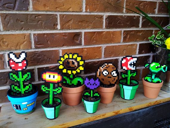 Potted Mario and Plants vs. Zombies Perler Plants.. Various sizes available by GetSTUFT