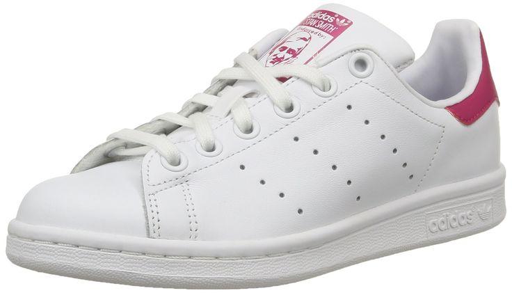 adidas Stan Smith J - Zapatillas para niño, color blanco / rosa, talla 38