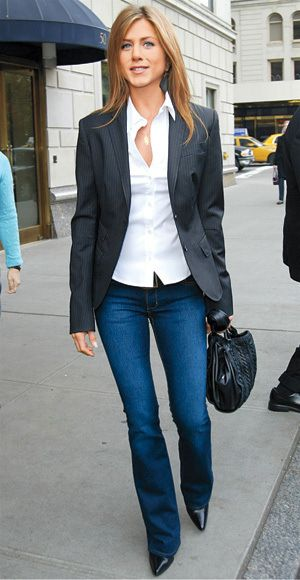 Nice casual look (Jennifer Aniston) jeans, pointy stilettos, blazer and white open neck blouse.
