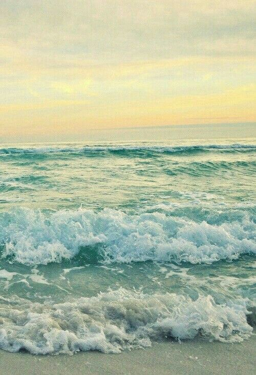 waves, frothy waves and a soft watercolor sky                                                                                                                                                                                 More