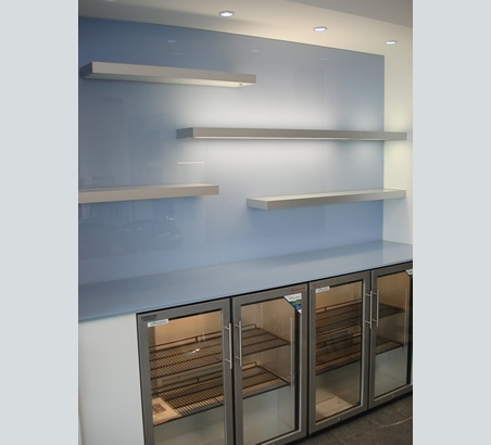 painted glass wall cladding and bar top