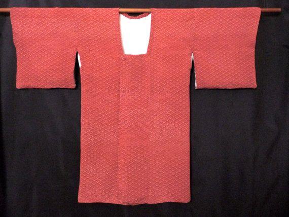 Vintage Kimono Fan Print Silk Crepe Kimono Robe