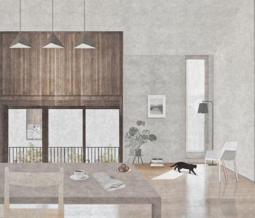 Eleftheria Loupasaki, Kingston University, MArch. 'The oblique' | Housing Project | Castle Green park, Dagenham | Apartment Interior collage