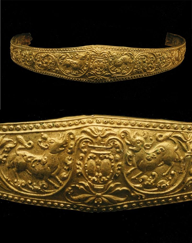 Indonesia ~ Java | Waistband; gold, bronze, traces of ceramic | 9th - 10th century   ||| {GPA}