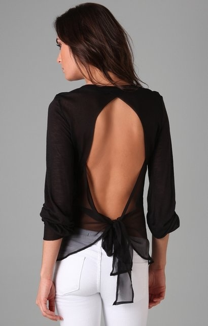 . #popular: Bows Ties, Style, Black White, White Pants, Backless Tops, Open Backs, White Jeans, Open Back, Backless Shirts