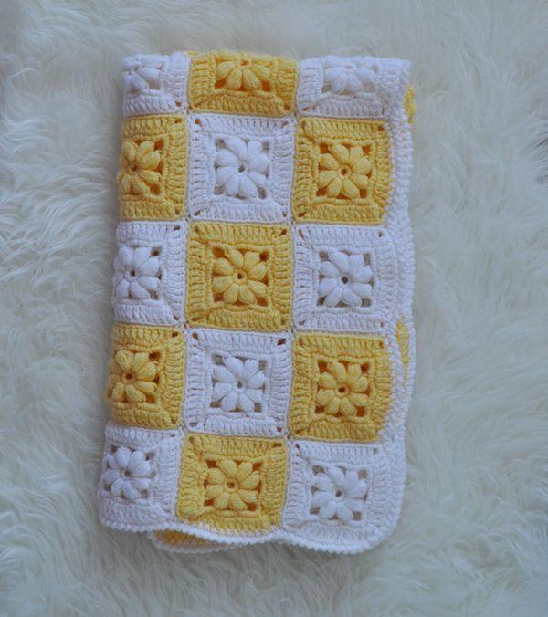 plaid vintage granny square crochet