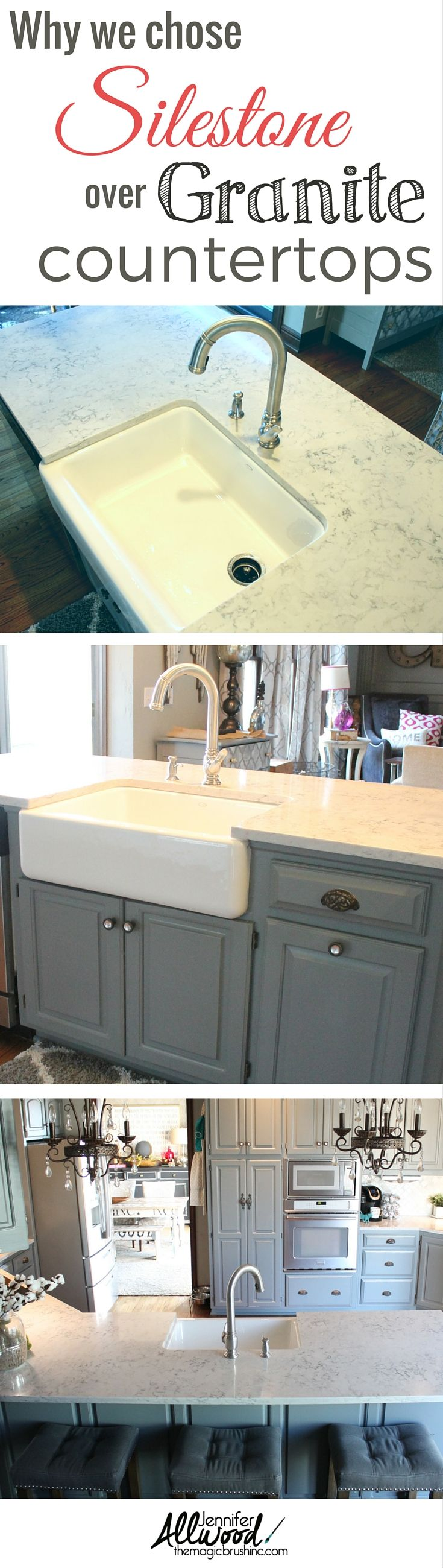 Here is why we chose Helix Silestone in our kitchen remodel! We went from a brown to gray color palette and the results are stunning! More DIY projects, decorating and painting tips from theMagicBrushinc.com