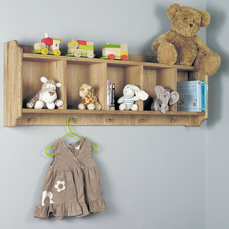 Amelie Solid Oak Wall Shelf with Hooks -  - Coat Rack - Baumhaus - Space & Shape - 1