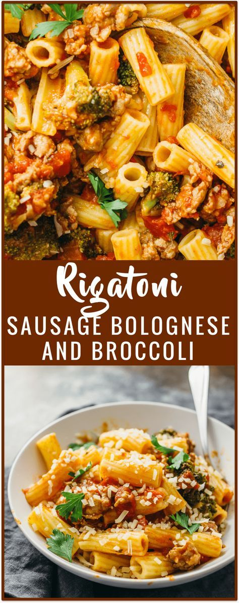 Rigatoni with sausage bolognese and broccoli - Use sausage for your next rigatoni bolognese! It's easy to swap out your typical ground beef for Italian sausage. This pasta recipe shows you how to make sausage bolognese with broccoli, crushed tomatoes, garlic, and a good heaping of spicy red pepper. - http://savorytooth.com
