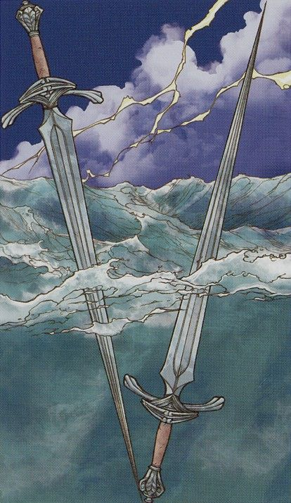 Where multiple choices are concerned, the message of the Two of Swords is to be prepared to be open to all options, otherwise you may loose out. Stay open-minded. {Universal Wirth Tarot}