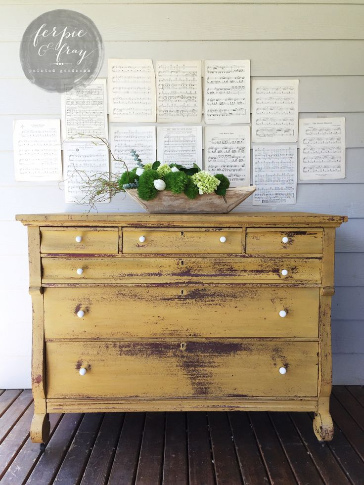 Dresser painted by Ferpie and Fray in Old Fashioned Milk Paint Co. Mustard