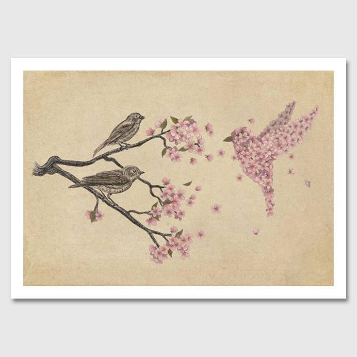 blossom bird art print by monde mosaic | notonthehighstreet.com