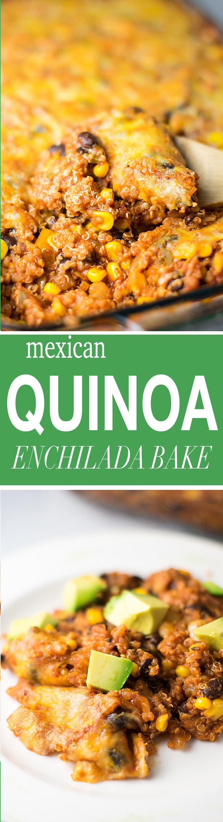 Vegetarian mexican quinoa enchilada bake recipe made with lots of fresh vegetables and grated mexican cheese. Serve with sour cream and tortilla chips!