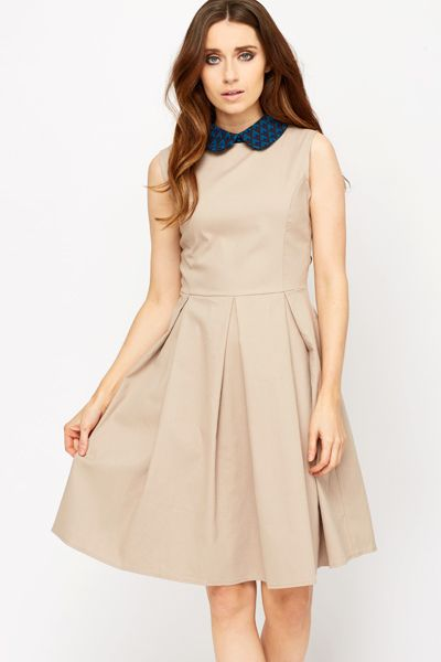 Pleated Waist Cotton Blend Dress