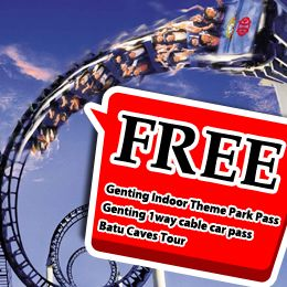 Kuala Lumpur Genting 4D3N. Get free Genting indoor theme park pass, Genting 1 way cable car pass and Batu caves tour. Starting from USD 148, valid until 31 March 2014. Contact us 500833 or from mobile 021 500833.