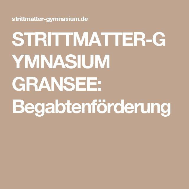 STRITTMATTER-GYMNASIUM GRANSEE: Begabtenförderung
