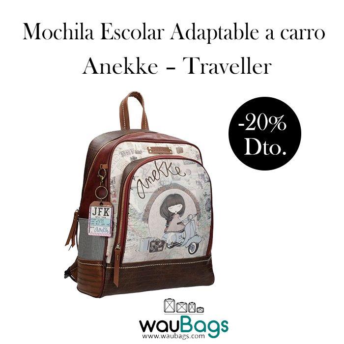 """Consigue la Mochila Escolar Adaptable a carro Anekke """"Traveller"""", ahora por tan solo 43,92€!!Con compartimento principal con bolsillo específico para guardar tu portátil o tablet, además de un bolsillo delantero con varios apartados en su interior para llevarlo todo bien organizado y un asa corta para llevarla en la mano. @waubags #anekke #mochila #escolar #portatil #tablet #portaordenador #descuento #oferta #rebajas #waubags"""