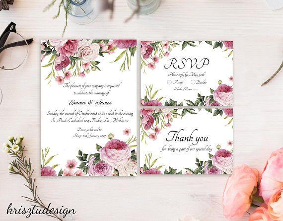 Wedding invitationRsvp cardThank you cardFLower