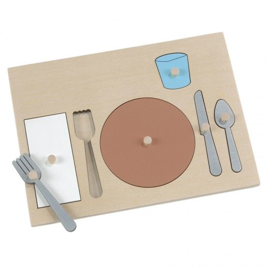 "Table Setting Puzzle:Introduce table setting to the youngest child with this puzzle. Children will become familiar with what is in a place setting before they set a real table. Naming the parts while manipulating the six knobbed pieces helps learning. Handmade in U.S.A. of laminated hardwood; 11½"" x 8½"". Ages 3 - 6."